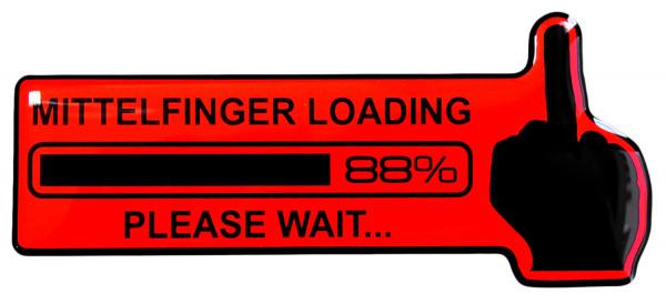 BIKE-label 910011 Aufkleber neon rot Mittelfinger Loading Sticker fürs Auto