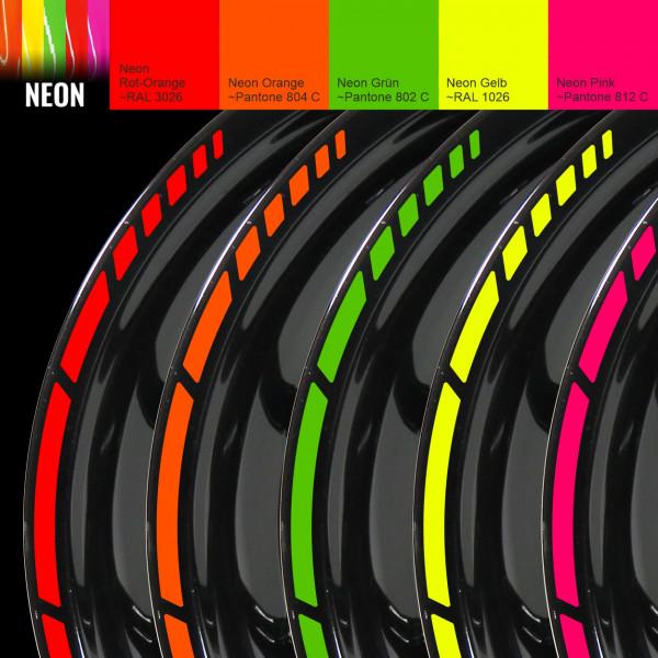 Felgenrand Aufkleber-Set für 16 / 17 / 18 Zoll Auto Motorrad - Neon versch. Farben - GP Style