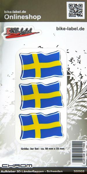 Aufkleber 3D Länder-Flaggen Schweden mit Chromrand 3 Stck. je 50 x 33 mm