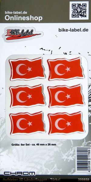 Aufkleber 3D Länder-Flaggen Türkei mit Chromrand 6 Stck. je 40 x 26 mm