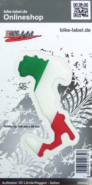 Aufkleber 3D Länder-Flaggen - Italien Italy 100 x 85 mm