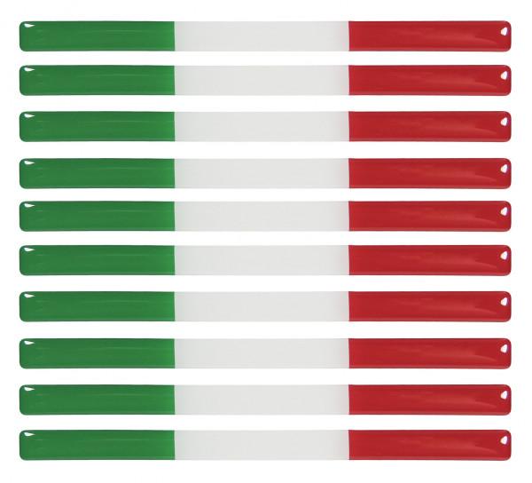 Italien 3D Aufkleber Flaggen 10 Stück je 150 x 10 mm Sticker für Auto Kfz Motorrad