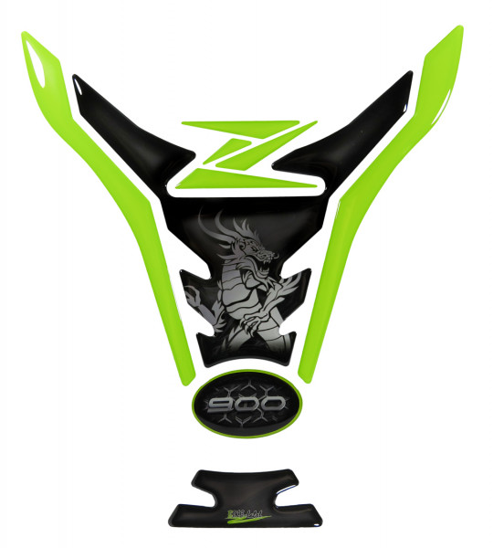 Tankpad Grün Grau Drache Motorrad Schutz Aufkleber kompatibel für Kawasaki Z900