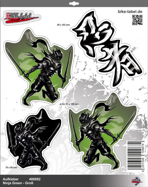 BIKE-label 400082 Aufkleber Sticker Ninja Grün mit Samurai Schwert