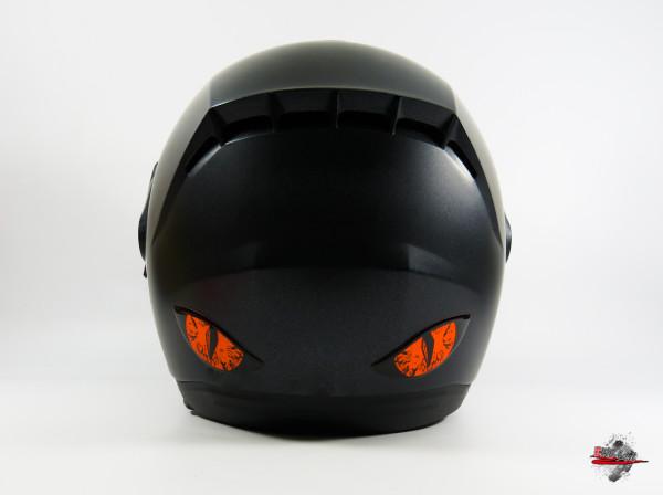 Deko Helm Aufkleber Böse Augen Evil Eyes in Neon Orange