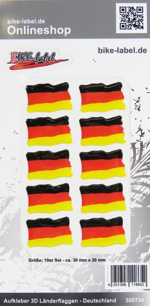 Aufkleber 3D Länder-Flaggen Deutschland 10 Stck. je 30 x 20 mm