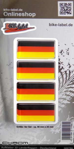 Aufkleber 3D Länder-Flaggen Deutschland mit Chromrand 4 Stck. je 50 x 25 mm