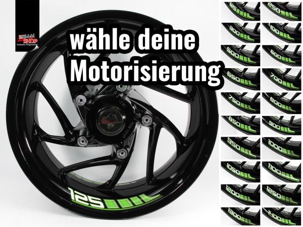 BIKE-label Felgenbett Aufkleber Set für Motorrad Auto Felgen 16 - 21 Zoll grün