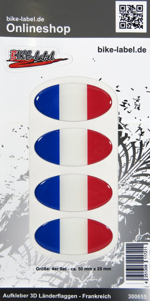 Aufkleber 3D Länder-Flaggen Frankreich France 4 Stck. je 50 x 25 mm