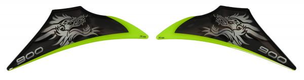 Dekor Schutz-Aufkleber Grün Grau Drache Sitzverkleidung kompatibel für Kawasaki Z900