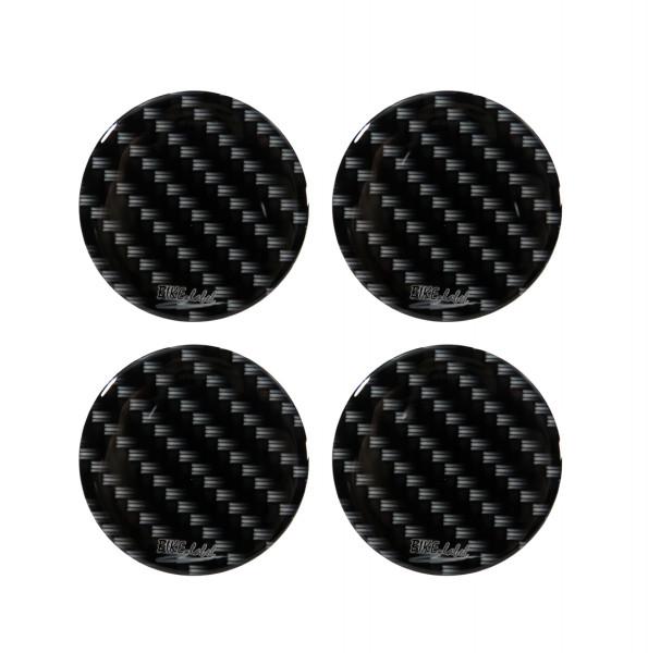 Nabenkappen Aufkleber für Auto-Felge Carbon-Optik Schwarz Black Druck 50 mm
