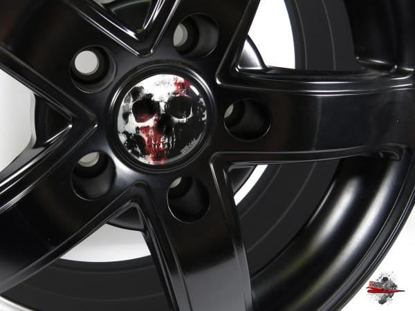 Nabenkappen Aufkleber für Auto-Felge Totenkopf Blut Dead 55 mm