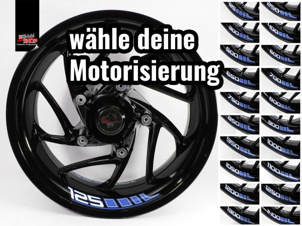 BIKE-label Felgenbett Aufkleber Set für Motorrad Auto Felgen 16 - 21 Zoll blau