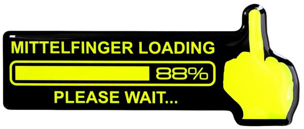 3D Aufkleber neon gelb Mittelfinger Loading Sticker fürs Auto