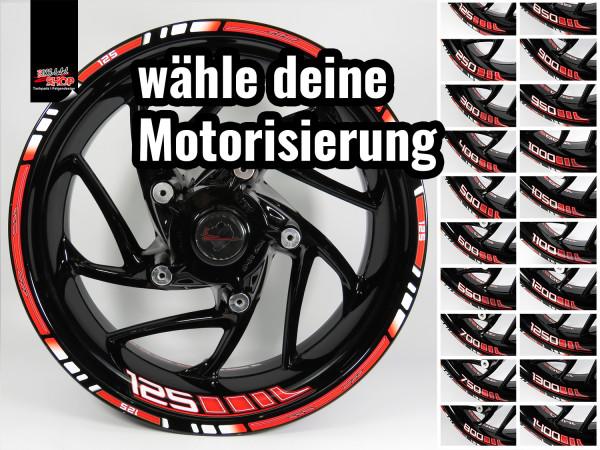 BIKE-label Felgenrand und Felgenbett Aufkleber Set für Motorrad Auto Felgen 16 17 18 Zoll rot