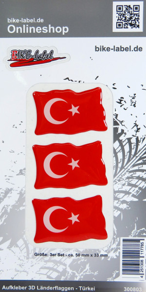 Aufkleber 3D Länder-Flaggen Türkei Turkey 3 Stck. je 50 x 33 mm
