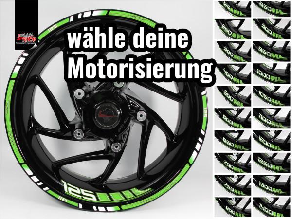 BIKE-label Felgenrand und Felgenbett Aufkleber Set für Motorrad Auto Felgen 16 17 18 Zoll grün
