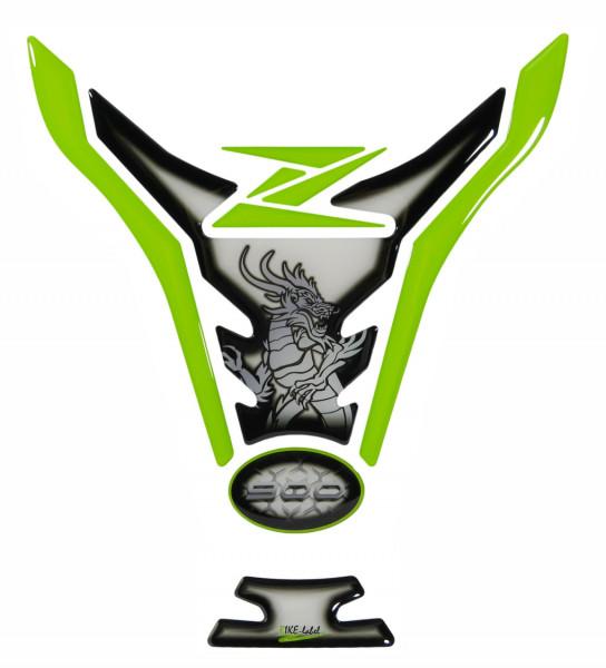 Tankpad Grün Weiß Drache Motorrad Tankschutz kompatibel für Kawasaki Z900
