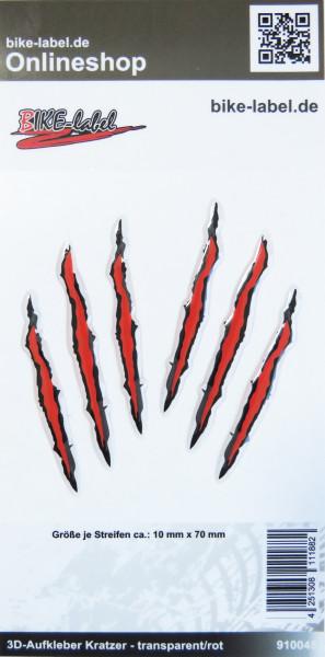 BIKE-label 910045 Aufkleber 3D Monster Kratzer Krallen rot und transparent