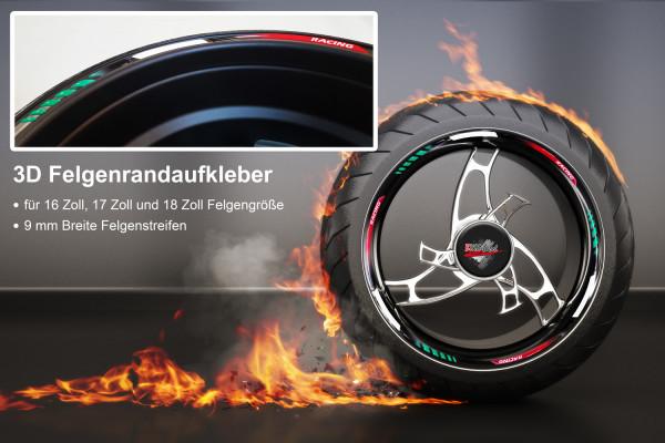 BIKE-label 700008 3D Felgenrand Aufkleber Italien Racing Italia Flagge