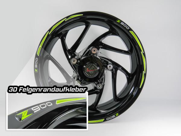 Felgenrand 3D Felgenaufkleber Dekor Grün Weiß kompatibel für Kawasaki Z900