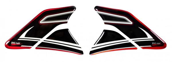 Seiten-Tankpad Lackschutz Aufkleber für Motorrad-Tanks Red Stripe Black & White - Form 6