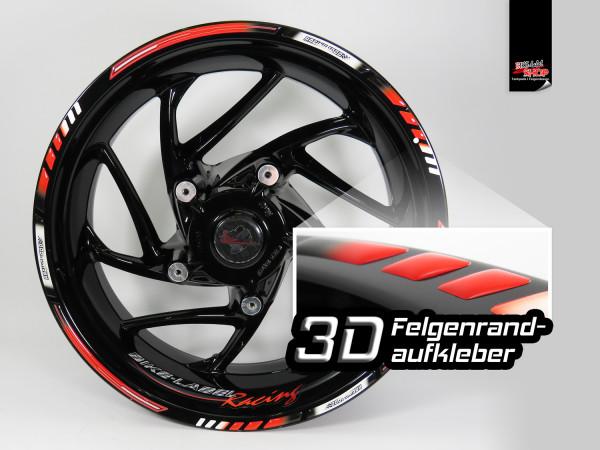 BIKE-label 700010 3D Felgen Aufkleber für Motorrad und Auto 16 17 18 Zoll - Racing Rot 1000