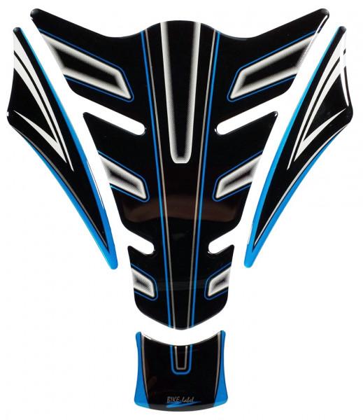 Lackschutz Aufkleber für Motorrad Tanks - Blue Stripe Black and White - Form 15